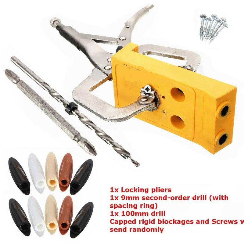 Mini Pocket Hole Drill Jig Slant Hole Jig Locator Guide Kit Woodworking Power Hand Tools 9mm Step Drill Bit Sets Dowel Wood Jig<br>