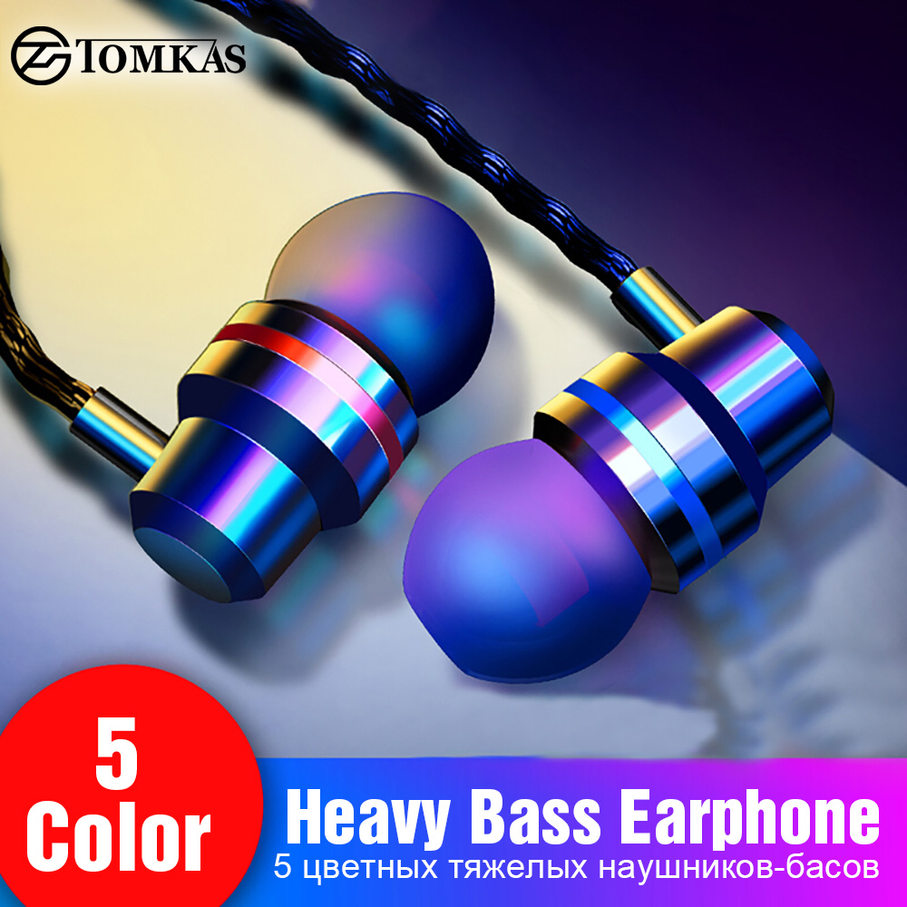 TOMKAS Wired Earbuds Headphones 3.5mm In Ear Earphone Earpiece With Mic Stereo Headset 5 Color For Samsung Xiaomi Phone Computer(China)