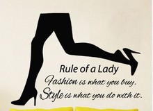 2015 Shoe Shop Vinyl Wall Decal Beauty Girl Legs Rule Of a Lady Mural Art Wall Sticker Shoe Store Beauty Shop Bedroom Decoration(China)