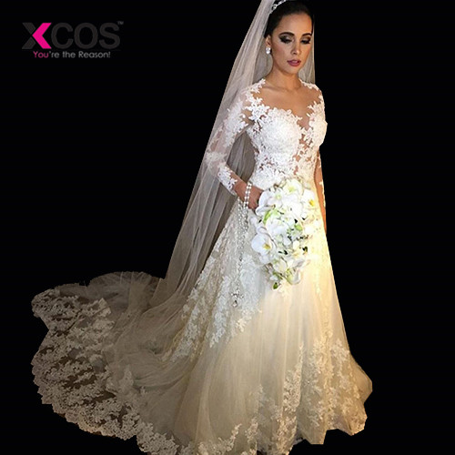 XCOS Robe De Mariee Vintage White A-line Wedding Dresses Long Sleeve Wedding Gowns Beading Sheer Nude tulle Bride Dress 2018
