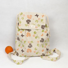 YILE Handmade Cotton Linen Draw String Backpack Student Book Bag Print Leaf Butterfly WF03