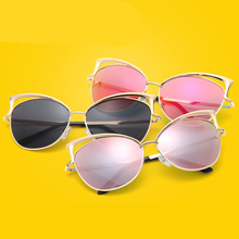Comfortable to wear Mens Womens Cat Ear Hollow Frame Glasses UV 400 Protection Sunglasses for Shopping(China)