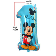 QGQYGAVJ Digit Ballon Mickey 1 birthday balloon Party decorations kids Wedding Decoration globos baby shower party Supplies(China)