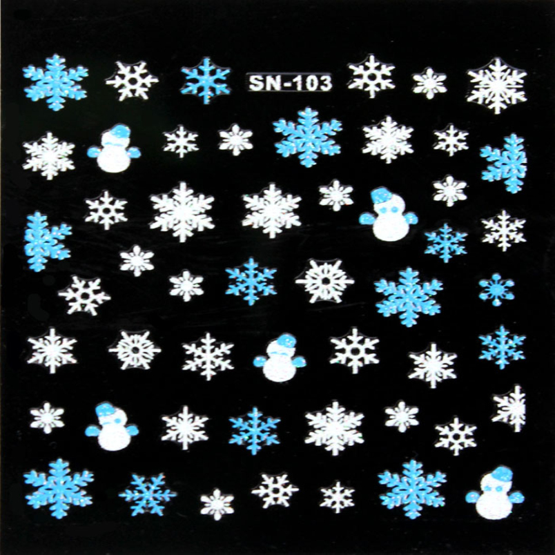 1PC New Xmas 3D Nail Art Stickers Decals Adhesive DIY Decoration Beauty Manicure Snowflake Snowman Design Aug 26<br><br>Aliexpress