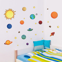 DIY Solar System Cartoon wall stickers for Baby room Decor Sun planet Stars Art Decals