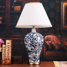 Vintage style porcelain ceramic desk table lamps for bedside chinese Blue and White Porcelain porcelain table lamp shipping