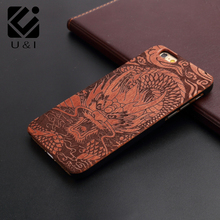 U&I Fashion luxury perfect For iPhone 6 6S Case 100% real Natural Black Wood Back Cover Case wooden retro tape pattern Capa