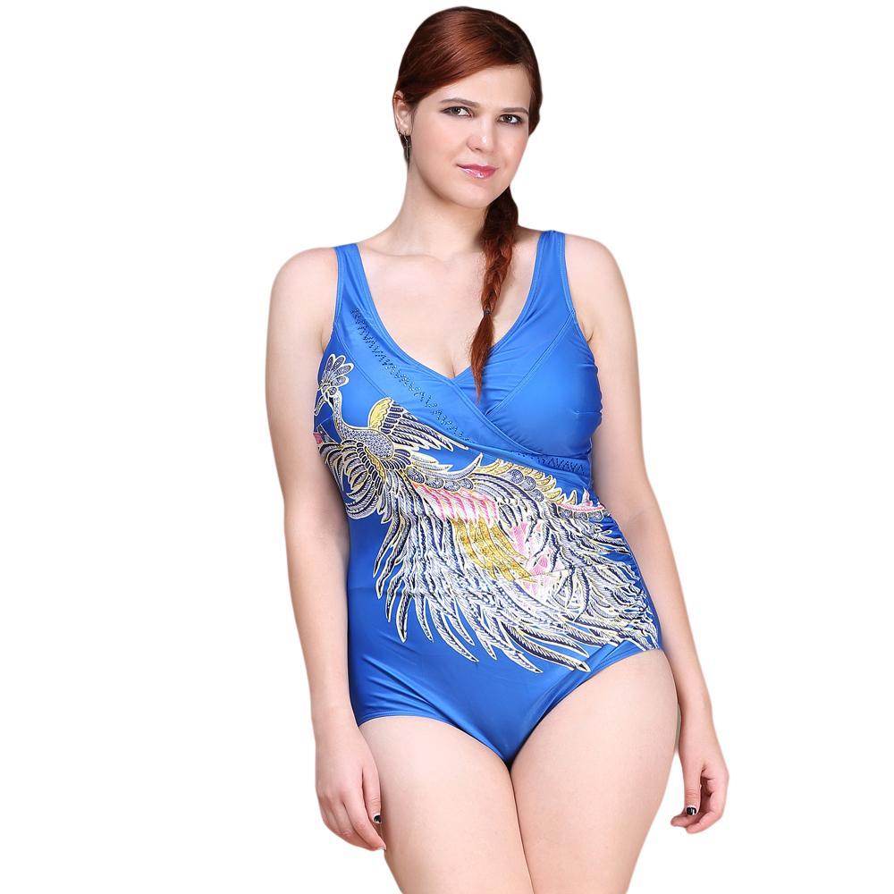 Plus Size Swimsuit 2017 Vintage Sexy One Piece Swimwear Women Rhinestone Peacock Beach  Print Phoenix Halter Bathing Suit<br>