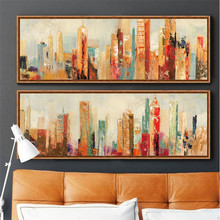 hand painted modern decorative canvas oil painting orange yellow abstract new york city wall picture for living room pop art(China)