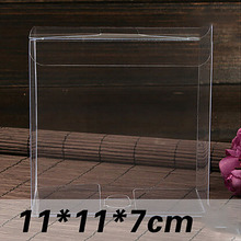 Wholesale 20pcs Size:11*11*7cm Thickness:0.28mm Clear PVC Box Packing Gift/Candy/Cookie Boxes Transparent Model Display Box