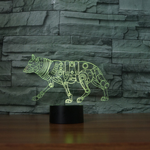 3D LED Animal Wolf Nightlights Colorful Gradient Atmosphere Dog Table Lamp Bedroom Bedside Decor Baby Sleep Lighting Xmas Gifts(China)