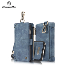 CaseMe Authentic Leather Detached Case For iPhone7 Celular Card Slot zipper Magnetic Wallet Purse Phone Bag For iPhone 6 6SPlus(China)