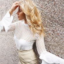 Sexy White Hollow Out Mesh Tops Women Elegant Flare Sleeve Lace Blouse Shirt White Transparent Fishnet Shirt Female