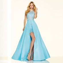 Trendy New Style Short and Long Skirt Satin Tanks O-neck Sexy Show Legs Lace Long Beading Long Beaded Prom Dresses