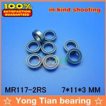 Free Shipping High quality 10PCS MR117-2RS ABEC-5 7*11*3 mm Miniature Ball Bearings MR117RS L1170 Blue rubber seal(China)