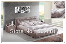 contemporary King size modern genuine leather bed China bedroom furniture