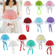 1 Bouquet Ribbon Rhinestone Artificial Foam Roses Party Wedding Bridal Flowers Store 48