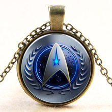 Hot movie New Fashion Star Trek Pendant necklace bronze silver pendent Glass Time Gem Dome Necklace For Men women Jewelry