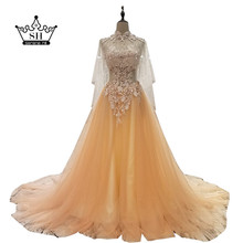 Elegant High Neck Backless Long Orange Evening Dresses with Shawl Sheer Beaded Sequins A-line Formal Dress Party Vestidos(China)