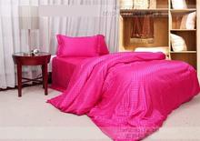Natural mulberry silk Hot pink rose red plaid  bedding set king size queen  duvet cover bed sheet bedspread