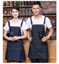 1 piece Unisex jean Chef Aprons restaurant kitchen waiters jean aprons food service(China)
