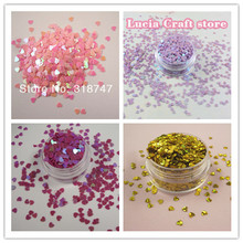 20g/bag Multi colors option heart Glitter Flake Rainbow Cup Sequin DIY Nail Art Decoration 24010026(3D20g)