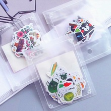 1pack/Lot Transparent  cartoon girl & Cartoon Life series mini Sticker flake package Students nice decoration DIY label