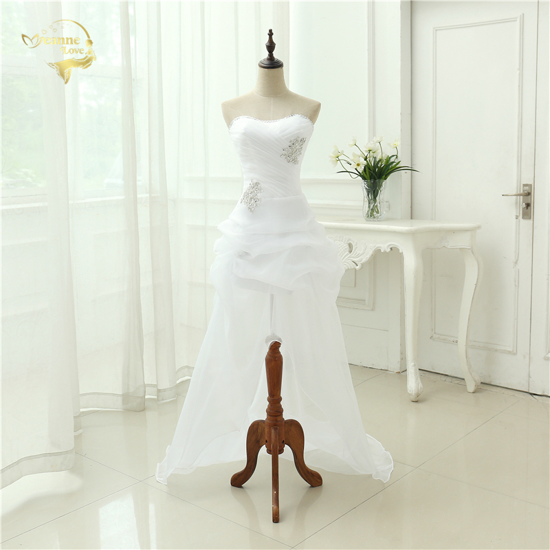 Vestido De Noiva 2017 New Shiny Organza Women Bride Sweetheart Beading Front Short Back Long White Ivory Wedding Dresses OC3399 2
