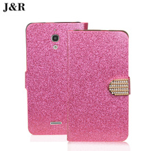 Bling case For Alcatel 8050D 8050 cover Diamond leather case One Touch Pixi 4 3G 6.0 OT-8050D OT8050 Mobile Phone Bag