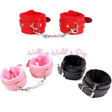 Buy Sexy Toys Plush Hand Cuffs Sex Bondage Restraints PU Leather Ankle Hand Cuffs Fetish Sex Products Erotics Toys Couples Flirt