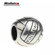 Authentic 925 Sterling Silver Sport Volleyball Charm  Bead Fit Pandora Bracelet Women Jewelry