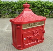 Red Vintage Garden mailbox Wall hanging Garden decorations Cast Iron postbox European Fashion Vintage Bucket tin Post Letter Box(China)