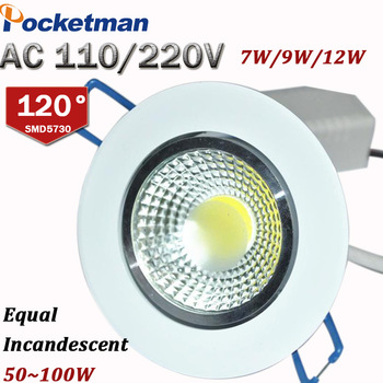 12W 9W 7W LED Downlight LED COB chip downlight Recessed Ceilinglight  LED Spot Light Lamp White/ warm white led lamp epistar