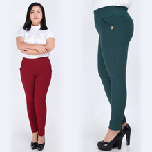 Extra Large Plus Size 3XL-6XL Clothing Trousers Pencil Pants Elastic High Waist Women Skinny Trousers red/green/blue/black.(China)