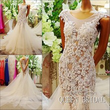 2017 New Design Vintage Mermaid Beading Lace Tulle Real Dress Vestido de Noiva Wedding Dresses Sexy Women Bridal Gowns BS09