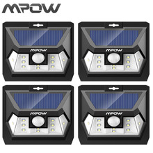 Mpow 4PCS Mini 10 LED Solar Power Lampion Security Waterproof Outside Wall Panel Lighting Fence Garden Deck Yard LED Night Lamp