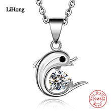 Cute Dolphin Pendant 100% 925 Sterling Silver Necklace Charm Cubic Zirconia for Women Christmas Gift(China)