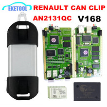 CYPRESS AN2131QC Quality A+ Renault Can Clip Newest V168 Gold Edge Full Chip PCB Full System Multi-Language CAN Clip Renault