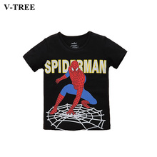 V-TREE Short Sleeve Cotton T-shirt For Boys Spiderman Boys Clothes Summer Children Clothes Blouses For Childrens Tops