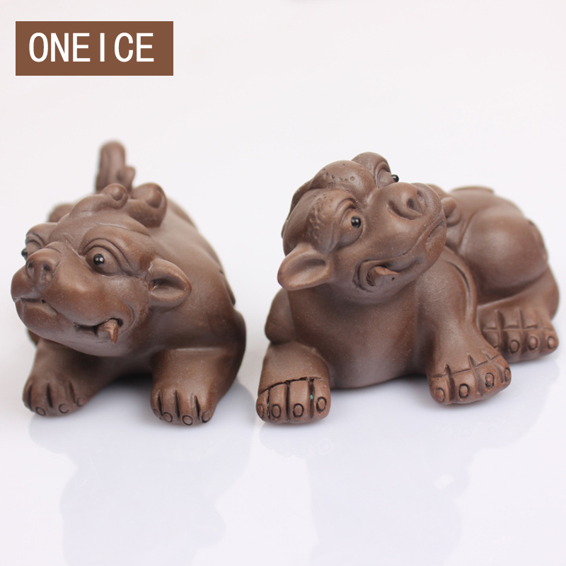 Free Shipping Yixing Tea Pet Lucky Brave One Pair Of Two Shop Into The Treasure Boutique Tray Ornaments(China (Mainland))