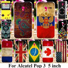Soft Plastic Phone Cases For Alcatel OneTouch Pop 3 5.0 inch 3G Version 5015D Cover Back UK Russia National Flag Silicone Bags