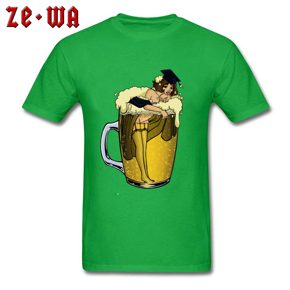 Man Top T-shirts pin up girl in beer Funny Tops Tees Pure Cotton Round Neck Short Sleeve Design T Shirt Summer/Autumn pin up girl in beer green