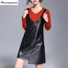 2 Piece Set V-neck Full T-shirt And Faux Leather Pu Sling Dress Winter Autumn Spring Two Piece Set High Quality Plus Size 5XL-L(China)