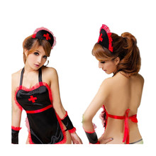 Buy Wosofan Maid Dress Sexy lingerie teddy nurse costume belt sexy costumes erotic dress adult sexy lingerie Role playing suit