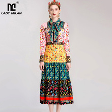 New Arrival 2017 Women's Turn Down Collar Long Sleeves Floral Printed Big Bow Elegant Fashion Runway Mid Calf Dresses(China)