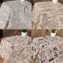Sales! Vintage 50x150cm 4 Designs Newspaper Printed Cotton Linen Fabric For Clothing Curtain DIY Sewing(China)