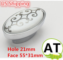 US Shipping Zinc alloy ceramic cabinet knob 5pcs oval shape drawer pulls Silver flower print(China)