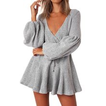 (Ship from US) Women Camisole Long Sleeve V-Neck Loose Pleated Mini Bandage  Fashion Dress V neck long sleeve sequin party dresses  xqx 650c71fb7f0a