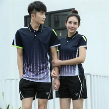 Women/Men Quick Dry Sportwear Badminton Shirt Uniforms Short Sleeve Polo T-shirt Table Tennis Sets Comfortable Training Suits(China)