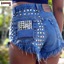 Vintage Rivet High Waist Denim Shorts Women Tassel Ripped Loose Short Jeans Punk Sexy Hot Summer Fashion Short Pants S-XXXL
